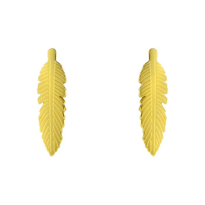 Hipoalergiczne kolczyki piórka w kolorze złotym, stal szlachetna 316L