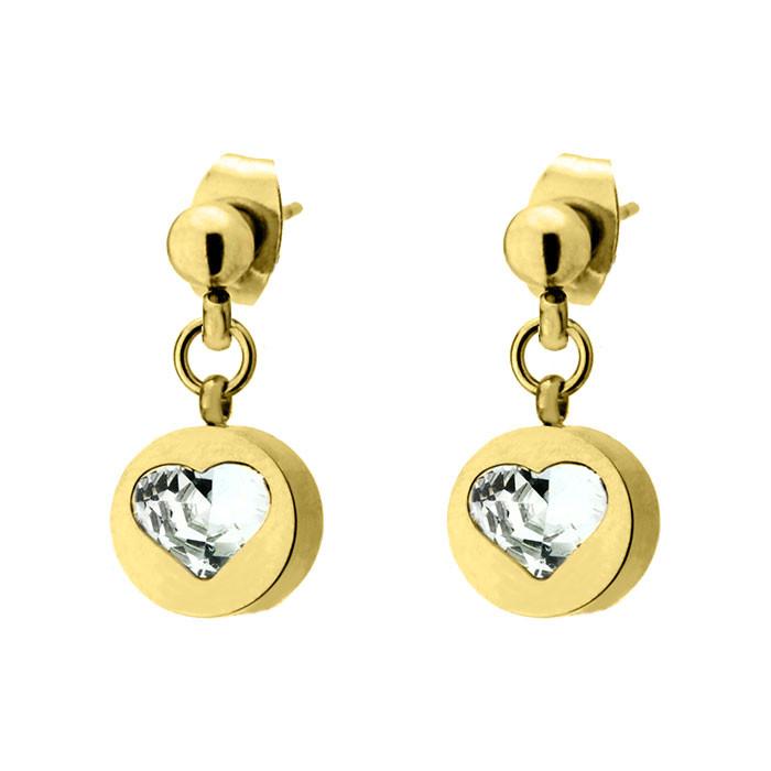 Złote kolczyki damskie, cyrkonia, serce