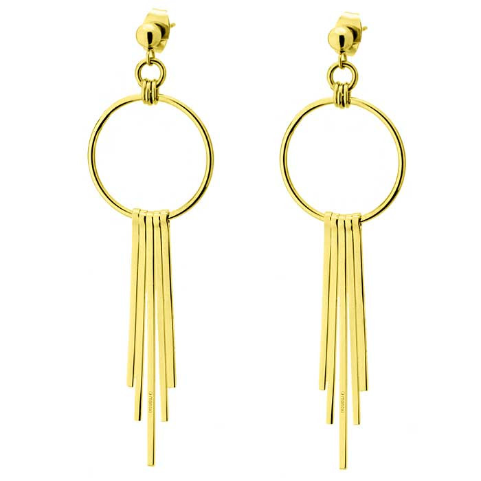 Złote kolczyki damskie z symbolem karmy, chwost