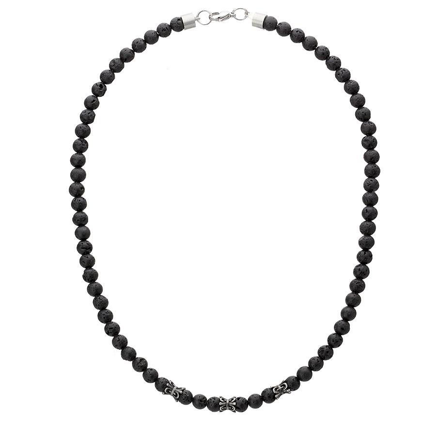 Lawa wulkaniczna naszyjnik dla mężczyzny z czarnymi kamieniami etno