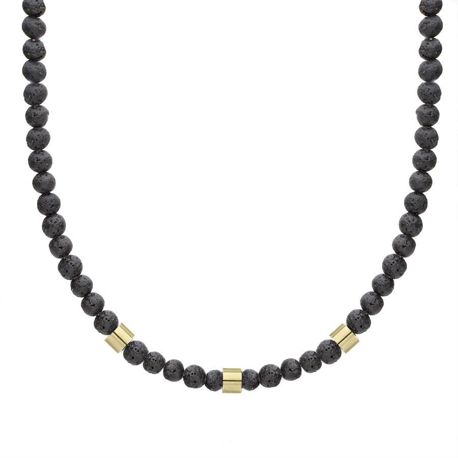 Naszyjnik lawa wulkaniczna z pozłacanymi elementami beads