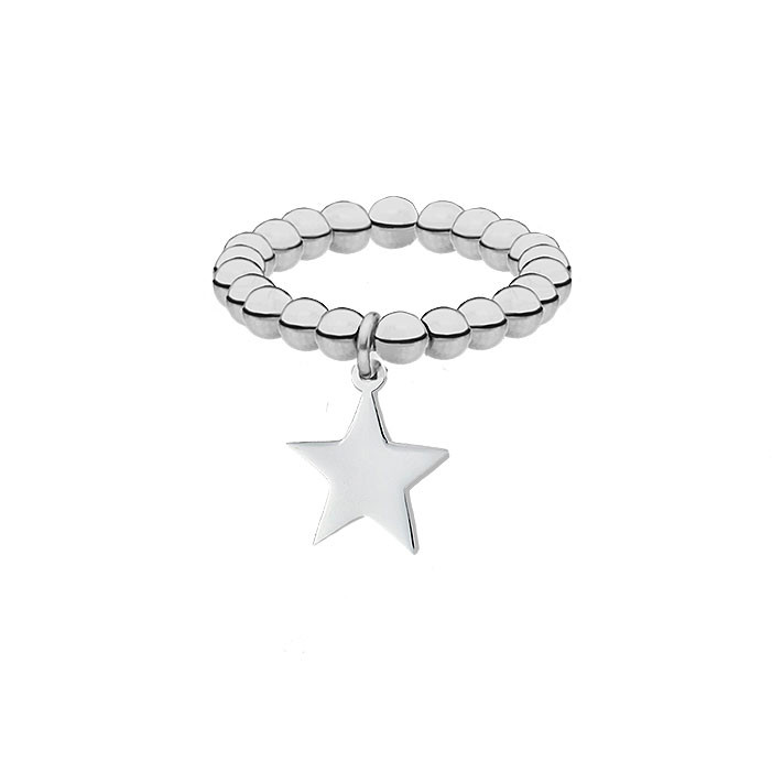 Elastyczna srebrna obrączka z gwiazdką