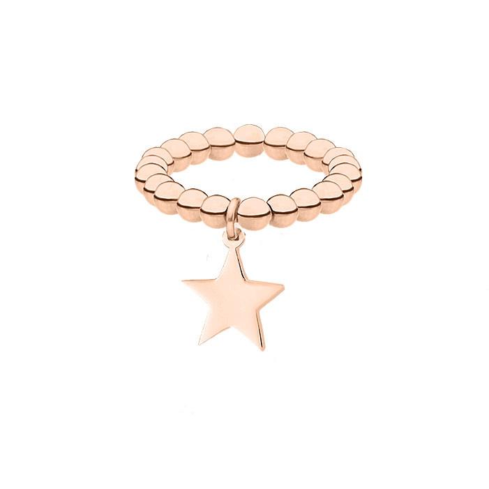 Elastyczna obrączka z gwiazdką, różowe złoto