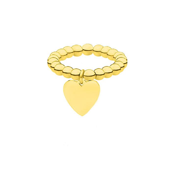 Elastyczna złota obrączka z kuleczek z serduszkiem