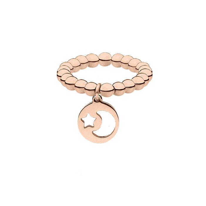 Obrączka z kuleczek, różowe złoto, księżyc i gwiazdka