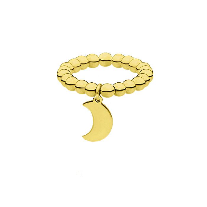 Złota obrączka z kuleczek, księżyc