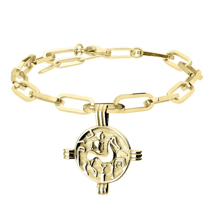 Pozłacana bransoletka łańcuch z antyczną monetą