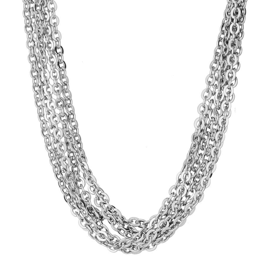 Srebrny naszyjnik z łańcuszków ze stali szlachetnej