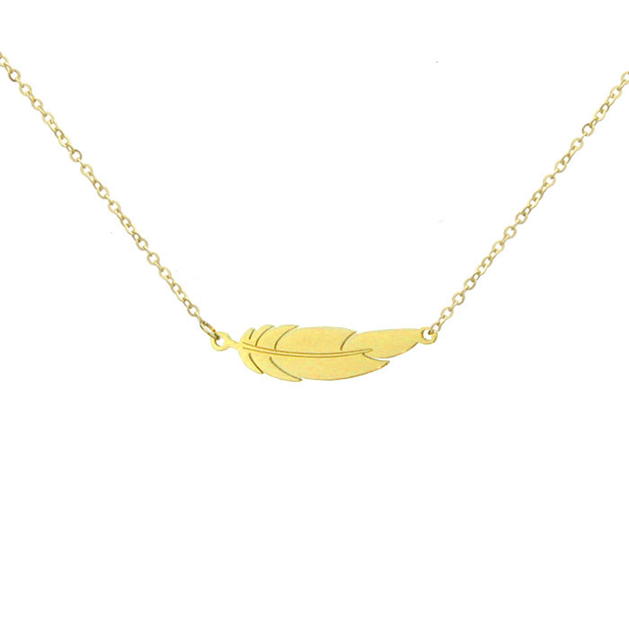 Damski naszyjnik w kolorze złotym, motyw piórka