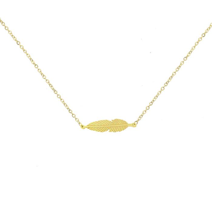Złoty naszyjnik damski z piórkiem