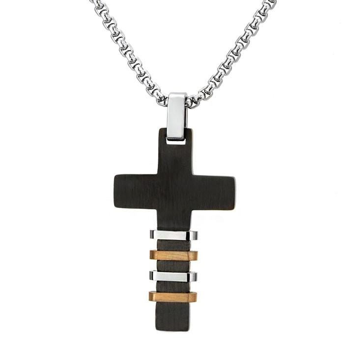 Czarny, męski krzyżyk ze srebrnymi i brązowymi ozdobami