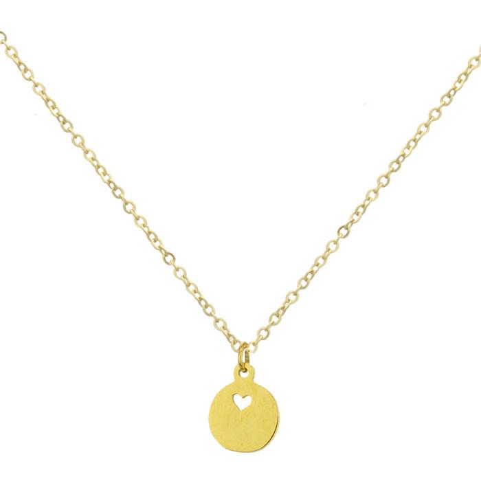 Złoty naszyjnik damski, medalik z serduszkiem