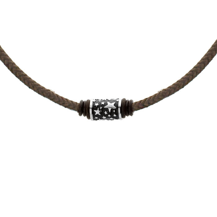 Brązowy, sznurkowy naszyjnik męski, beads w gwiazdki