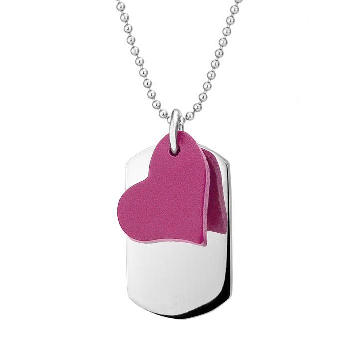 Naszyjnik damski z różowym serduszkiem z nieśmiertelnikiem