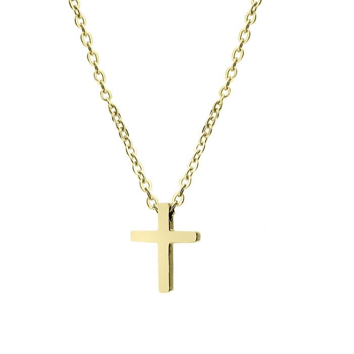 Naszyjnik damski z krzyżykiem, złoty kolor