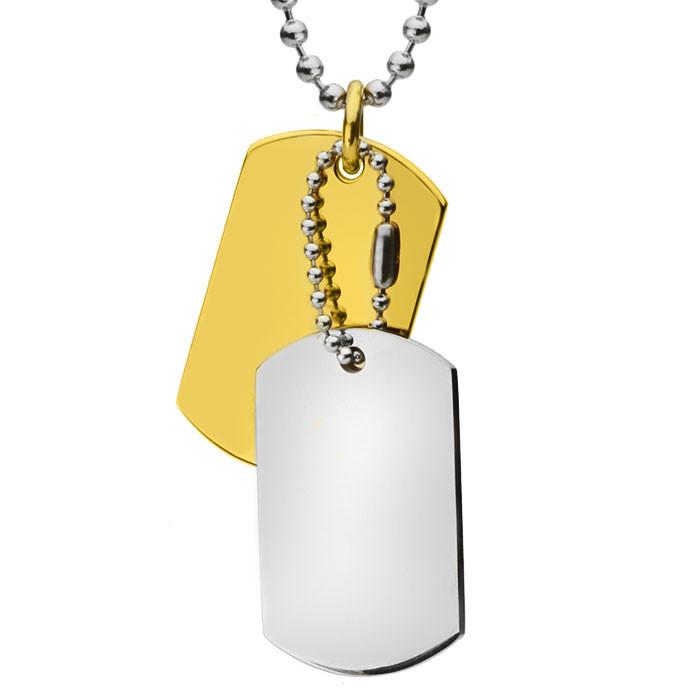 Srebrny i złoty nieśmiertelnik na kulkowym łańcuszku
