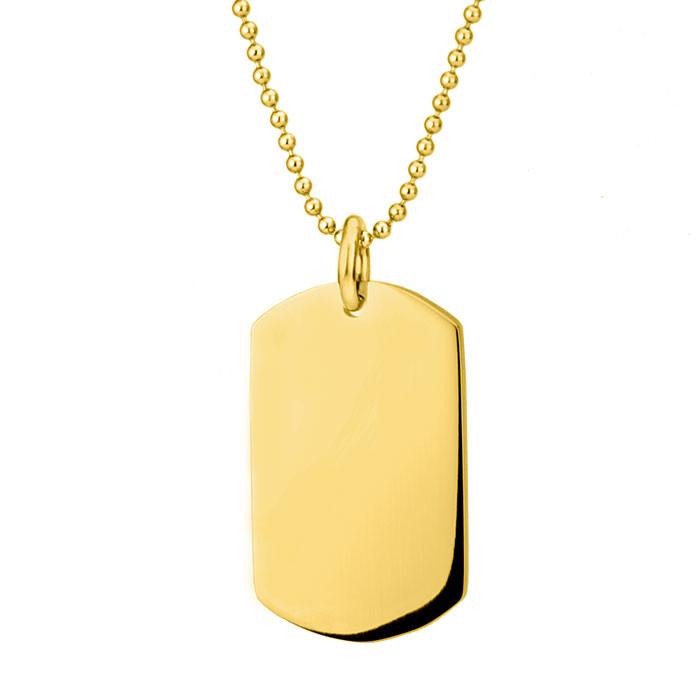 Złoty nieśmiertelnik na kulkowym łańcuszku