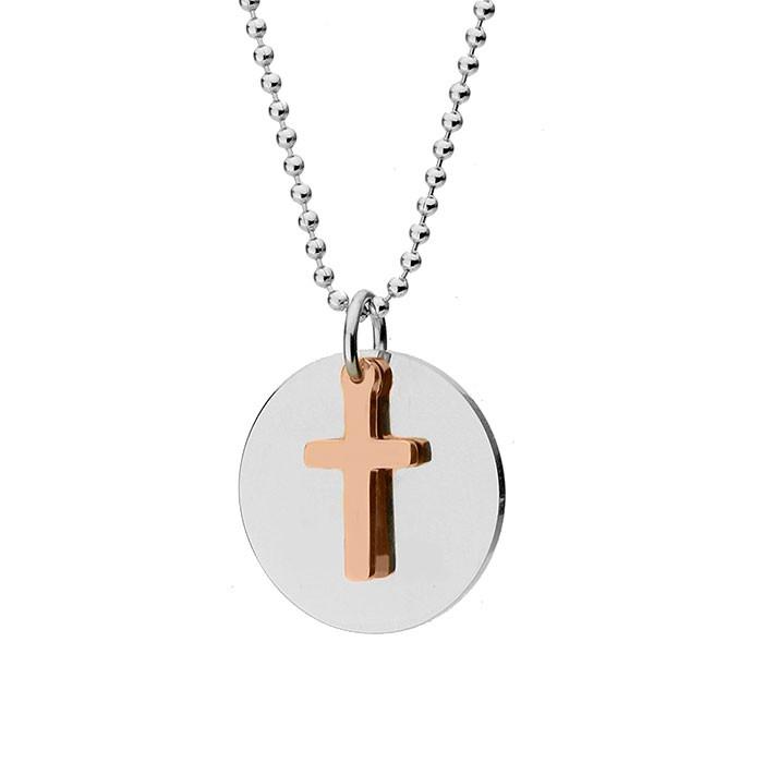 Naszyjnik z krzyżem MODERN, różowe złoto