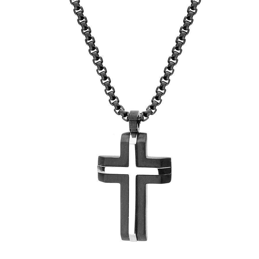 Naszyjnik czarno-srebrno krzyż