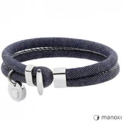 jeansowa bransoletka, białe przeszycia