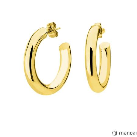 KA099G Kolczyki grube koła sztyfty złote