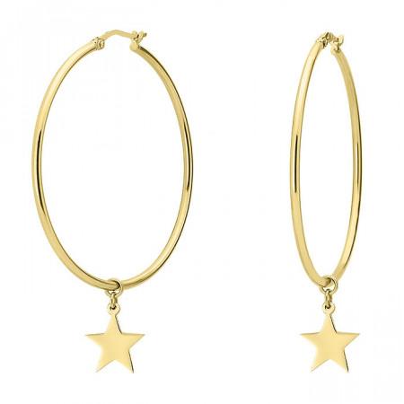 KA103G złote kolczyki koła z gwiazdkami