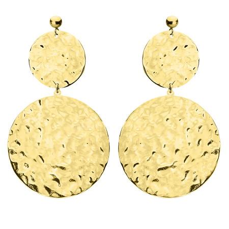 KA146G pozłacane kolczyki z młotkowanymi medalionami