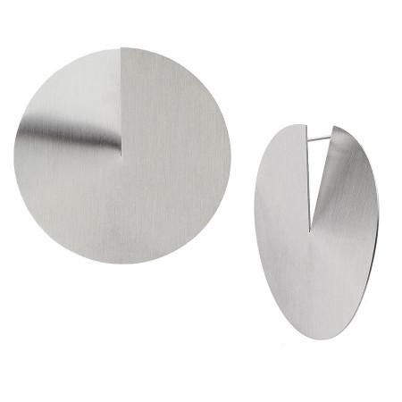 KA148 duże kolczyki satynowane dyski srebrne