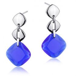 Kolczyki damskie z niebieskim kamieniem szklanym