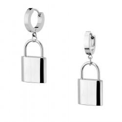 Kolczyki srebrna kłódka stal szlachetna pod personalizację