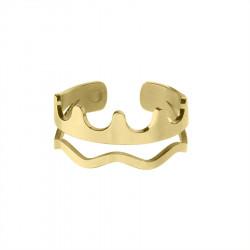 Korona pozłacany, regulowany pierścionek w minimalistycznym stylu