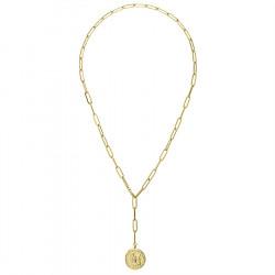 Łańcuch z monetą - pozłacany naszyjnik ze stali szlachetnej
