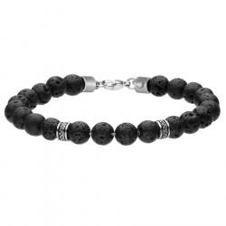 Lawa wulkaniczna - męska bransoleta z beadsami