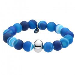 Leczniczy błękit, agat, niebieska bransoletka z ozdobą