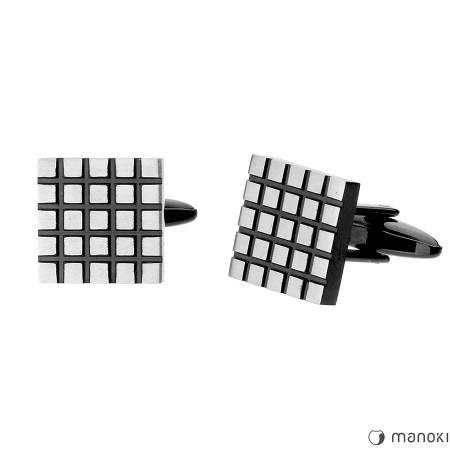 MA043 Spinki do mankietów srebrno-czarne