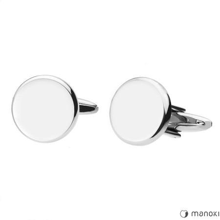 MA045 srebrne, okrągłe spinki do mankietów pod grawer