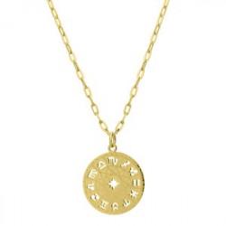 Medalion zodiak pozłacany ze stali szlachetnej