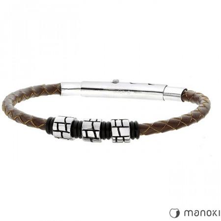 Męska bransoletka brązowy rzemień z beadsami