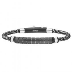 Męska bransoletka czarno srebrny sznurek ze stali szlachetnej