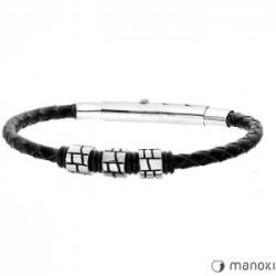 Męska bransoletka czarny rzemień z beadsami