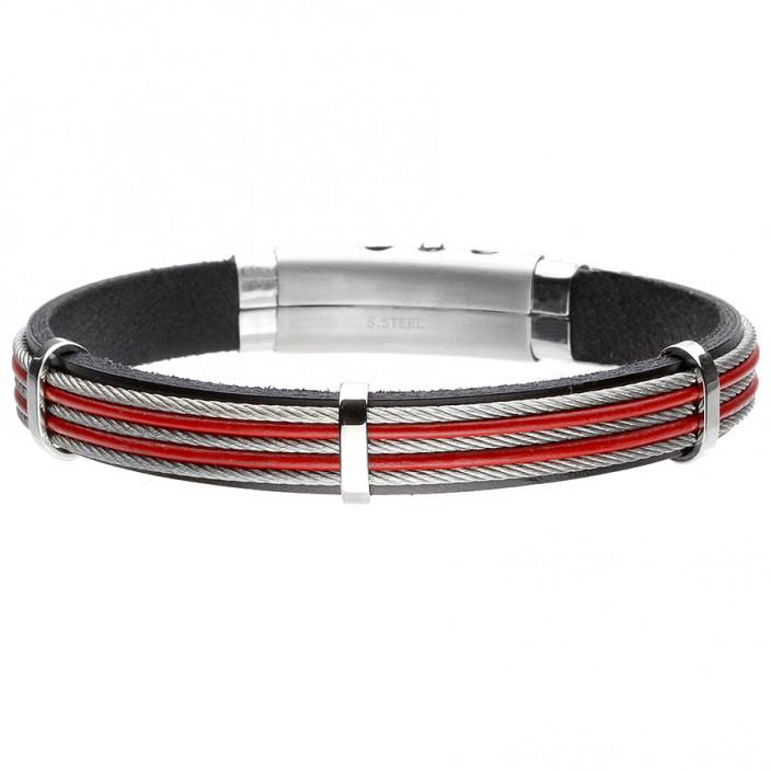 Męska bransoletka czerwona z linkami