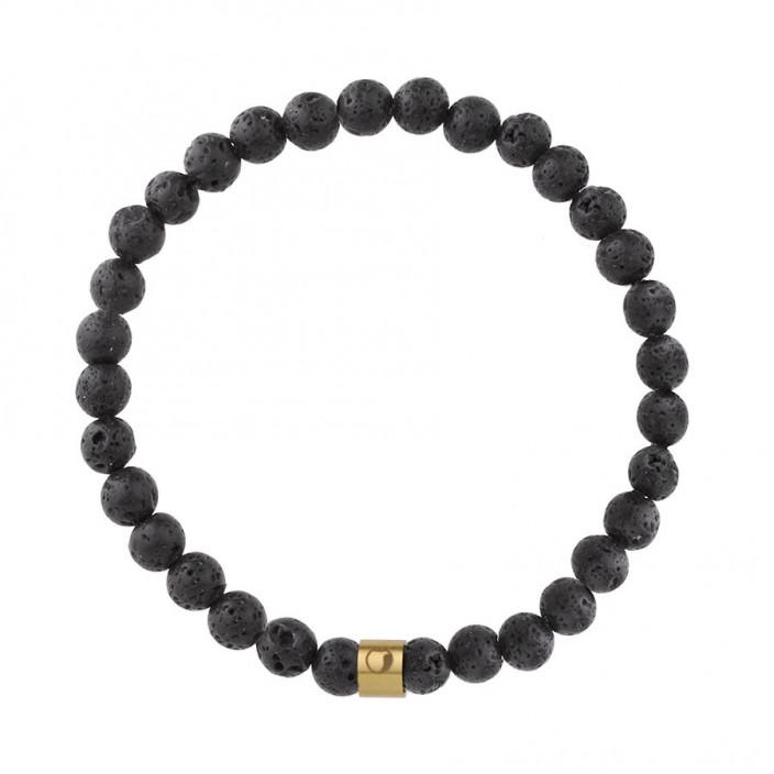 Męska bransoletka lawa wulkaniczna złoty beads ze stali szlachetnej