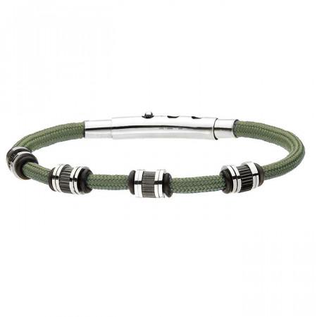 Męska zielona bransoletka sznurkowa z beadsami