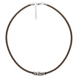Męski naszyjnik brązowy rzemień, beads