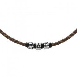 Męski naszyjnik brązowy rzemień z beadsami