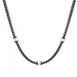 Męski naszyjnik czarny łańcuch z beadsami, stal szlachetna