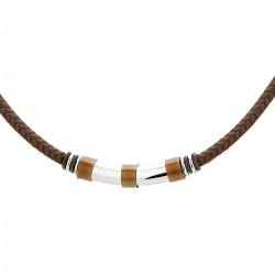 Męski naszyjnik z bawełnianego sznurka brązowego