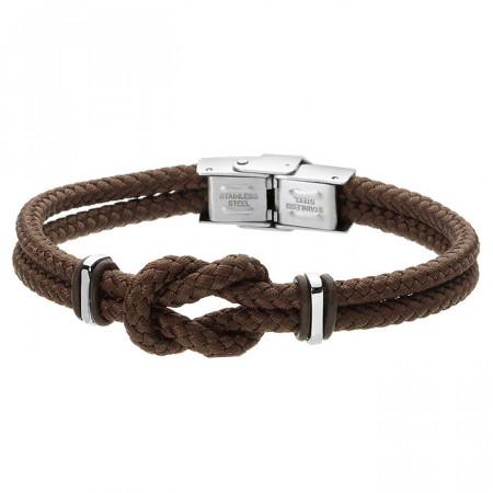 Minimalistyczna bransoletka męska z brązowego sznurka