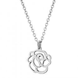 Minimalistyczny naszyjnik damski z ażurową różą, srebrny kolor