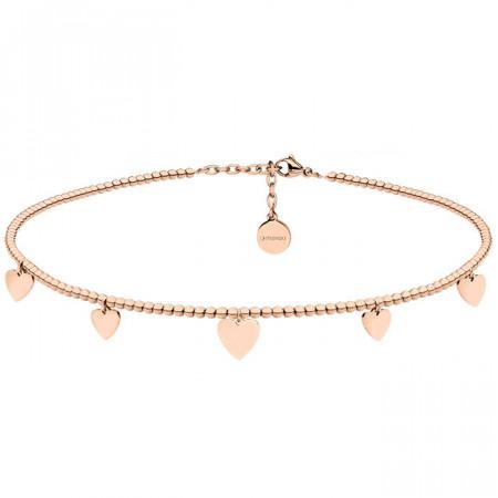 Naszyjnik choker w kolorze różowego złota z serduszkami